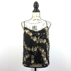 New Lucy & Co Large Top Black Gold Sequin Tank